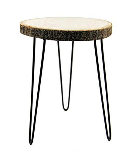 Spetebo Rustikaler Massivholz Beistelltisch mit Baumscheibe als Tischplatte - ca. 37,5 cm x 32 cm - Blumentisch Blumenhocker