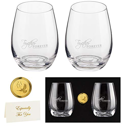 Anniversary Gifts for Couple- Crystal Stemless Wine Glasses Set of 2 |...