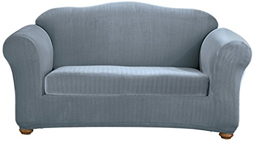 Sure Fit Stretch Pinstripe Box Cushion Sofa Two Piece Slipcover, Form Fit, Polyester/Spandex, Machine Washable, French Blue Color