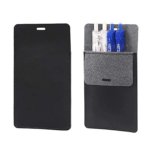 Pocket Protector, Pen Holder Pouch Organizer, Leather Durable Pocket Protector for White Shirts Pants Work Clothes Dirty Prevent Storage Pocket Case(Black, 2 Pack)