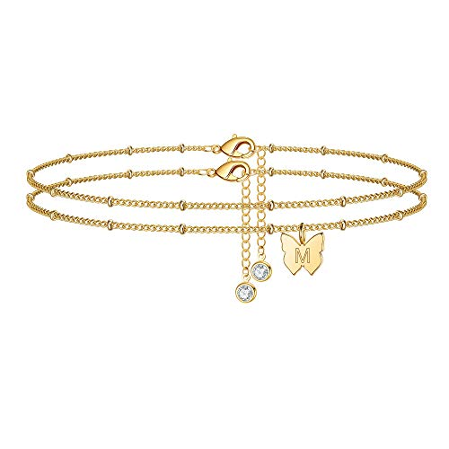14K Gold Plated Dainty Layered Butterfly Initial Anklet $4.80 (60% OFF Coupon)
