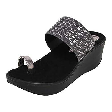 Catwalk Girl's Gun Metal Wedge Sandals Fashion