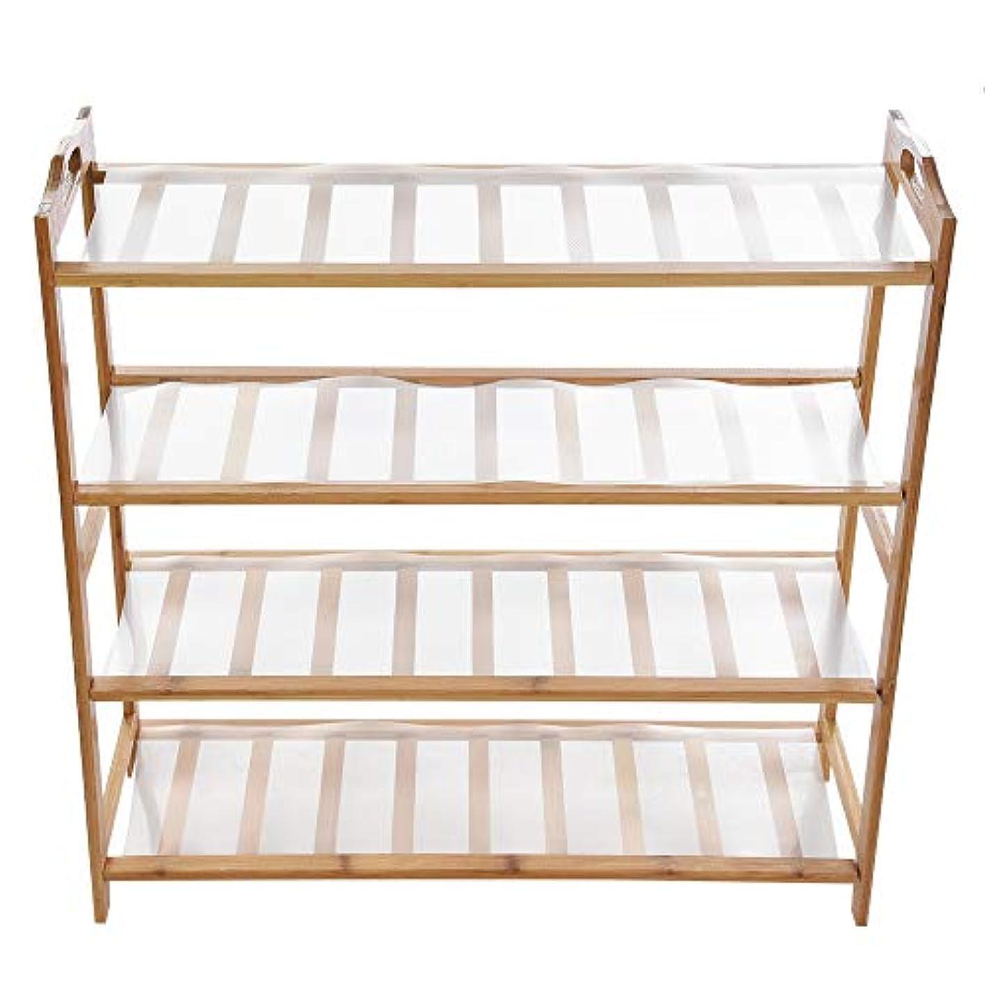 Nopeak Bamboo Shoe Rack 4-Tier Shoe Shelf Storage Organizer Ideal for Hallway Bathroom