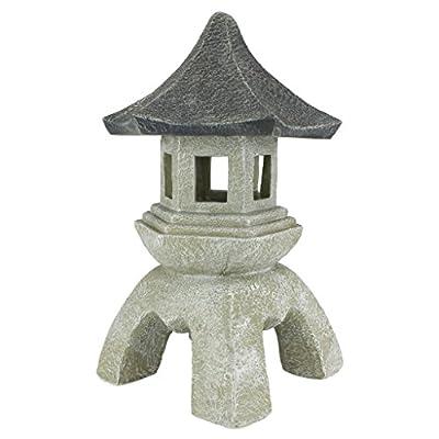 Design Toscano Asian Decor Pagoda Lantern Outdoor Statue, Large 17 Inch, Polyresin, Two Tone Stone