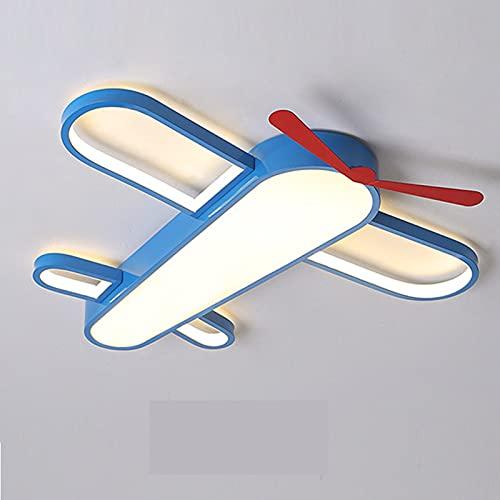 LANTING Cartoon con Control remoto Regulable Luz de techo LED Lámpara de techo de avión azul regulable moderna Dormitorio de niño Iron art protección ocular luz de noche pantalla acrílica 60x6cm 42w