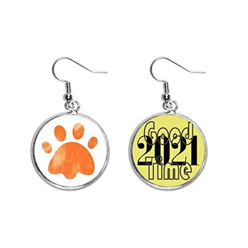 Pendientes animales de huellas de gato con impresión de huella de huella de gato de color naranja joyería 2021 buena suerte