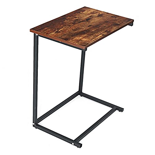 End Table C-shaped Wooden Metal Frame Sofa Side Table Coffee Table Home Computer Desk Storage Rack 22x14x26inch (Size : 26 * 21.7 * 13.8inch)