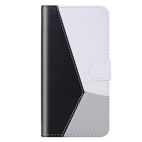 vingarshern Hülle für Sony Xperia Z6 Handytasche Klappbares Magnetverschluss Lederhülle Flip Standfunktion Schutzhülle Xperia Z6 Hülle Brieftasche-(Schwarz+Weiß+Grau) MEHRWEG