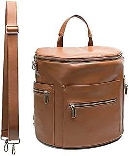 Leather Diaper Bag Backpack by Miss Fong, Diaper Backpack with Changing Pad,Wipes Pouch,Diaper Bag Organizer,Stroller Straps and Insulated Pockets(Brown-Regular)
