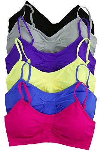 ToBeInStyle Womens Pack of 6 Simple Seamless Scoop Back Padded Bras - One Size