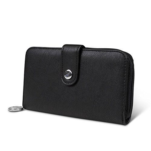 Nautica Be Shore Womens Wallet RFID Blocking Zip Around Clutch (Black (Buff))