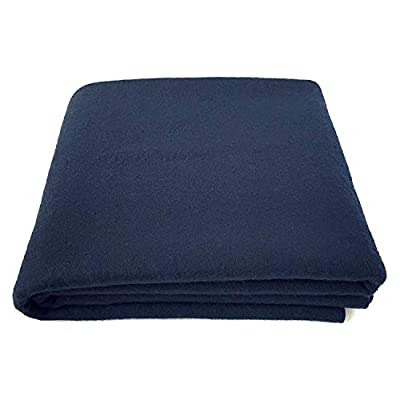 "EKTOS 100% Wool Blanket, Navy Blue, Warm & Heavy 5.5 lbs, Large Washable 66""x90"" Size, Perfect for Outdoor Camping, Survival & Emergency Preparedness Use"