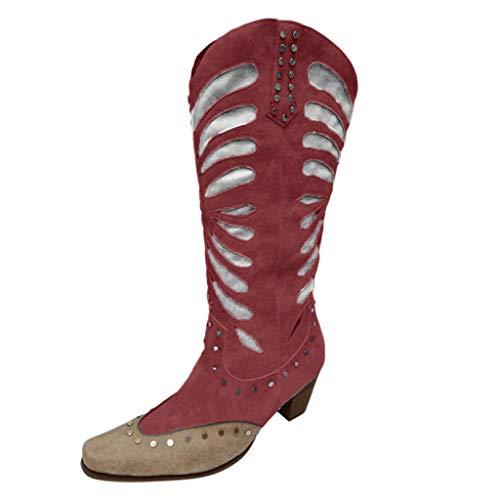 WHSHINE Damen Vintage Cowboy Cowgirl Stiefel | Nietenbesetzte Western Kniehohe Stiefel | Patchwork Lange Reitstiefel | Blumen geprägtes Leder |