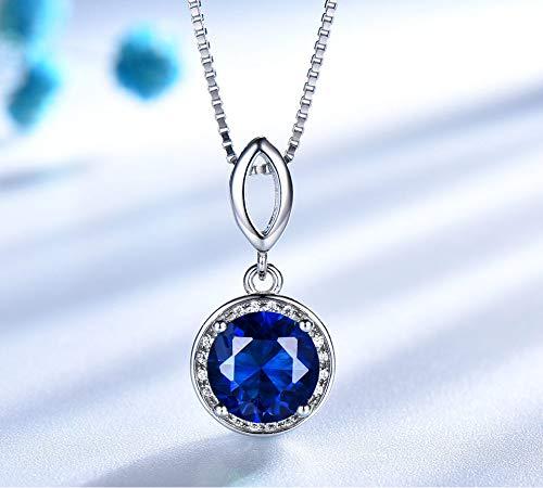 Blauwe Saffier Ronde Hangers kettingen voor vrouwen Chain Link Charm 925 sterling zilveren sieraden Gemstone Gift met Doos