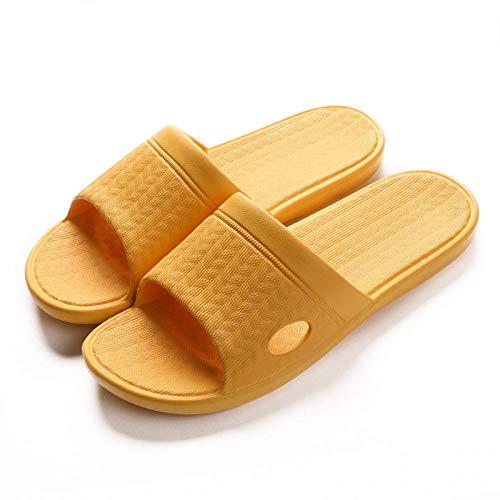 LLGG Hombre Baño Sandalias de Punta,Zapatillas Inferiores de Deslizamiento Blando, Equipaje de luz de Espuma-Amarillo Puro_39-40,Zapatillas de baño para el hogar