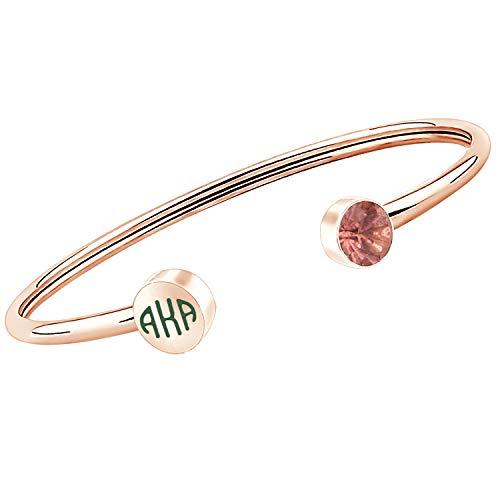 FAADBUK Sorority Gift Sorority Pink Zircon and Green Sorority Bracelet Sorority Graduation Jewelry for Women Girls(AK Br-RG)