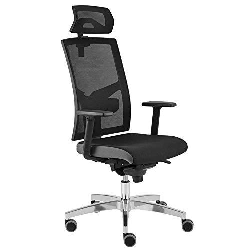 Hammerbacher Grid Pro - Premium Bürodrehstuhl mit Netzrücken und Kopfstütze   Ergonomischer Schreibtischstuhl   Armlehnen und Kopfstütze   schwarz