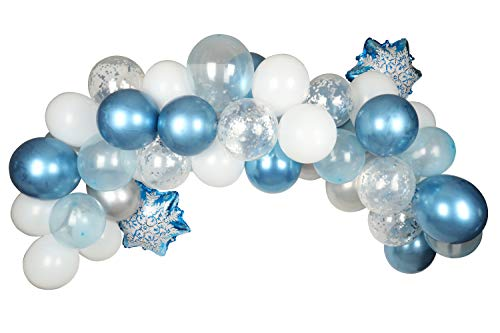 Frozen Party Balloons Arch & Garland Kit Winter Theme Decorations Set 52PCS Blue White Silver Snowflake Winter Wonderland Christmas Party Boy&Girl Baby Shower,Frozen Themed Birthday For Adult Kids