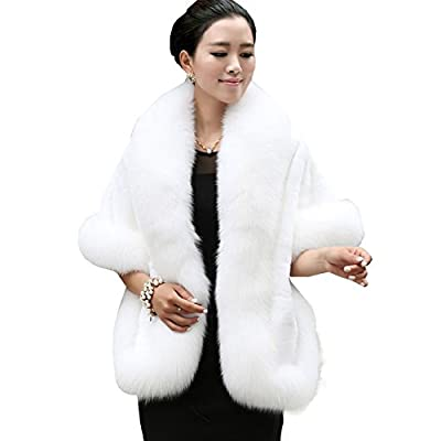 Caracilia Women's Faux Fur Coat Wedding Cape Shawl For Evening Party White from