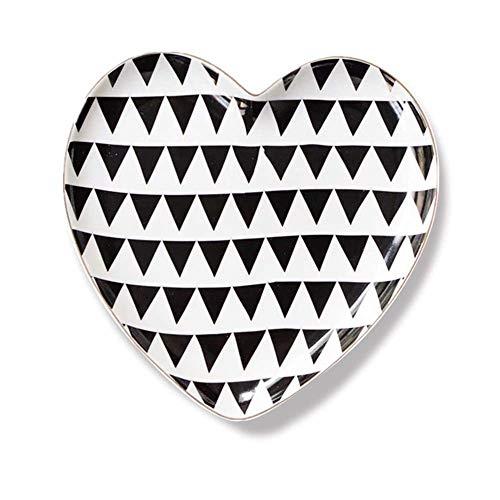 zvcv Estilo nórdico de Lujo de Lujo Amor Creativo Bandeja de Almacenamiento de Joyas de cerámica Plato de Pastel de Postre Bandeja de Almacenamiento de Escritorio Péndulo Triángulo 18X18X2Cm