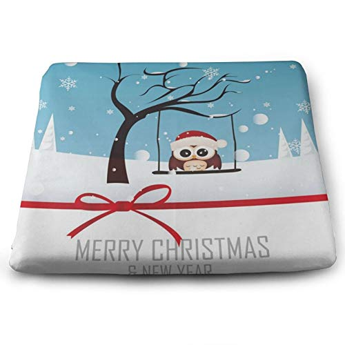 Merry Christmas And Happy New Year Owl Snowflake Chair Seat Cushions Pads Memory Foam Office Dining Kitchen Soft Chair Cushion 1Piece for Pressure Relief, Wheelchairs, Gaming, Computer, Sofa, Comforta