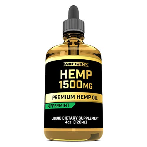 iVitamins Hemp Oil for Pain Relief :: 1,500mg 4 fl oz :: May Help with Pain, Mood, Sleep, Health and More :: Hemp Oil :: Rich in Omega 3,6,9 :: Peppermint Flavor