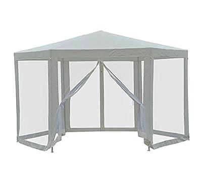 Outsunny Outdoor Hexagon Sun Shade Canopy Tent with Protective Mesh Screen Walls & Proper UV Sun Protection, Cream