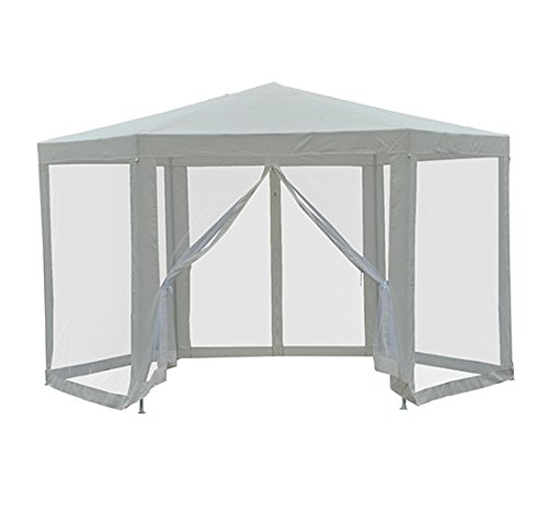 Outsunny Outdoor Hexagon Sun Shade Canopy Tent with Protective Mesh Screen Walls & Proper UV Sun Protection, Cream