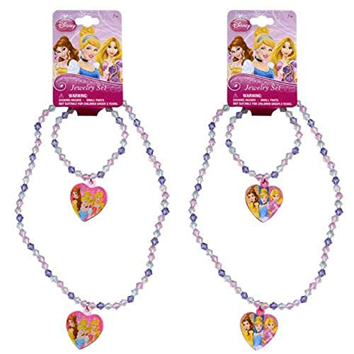 [ Total 2 sets ] Disney Princess Bead Heart Charm Necklaces and Bracelets (1 Pink and 1 Light Pink)