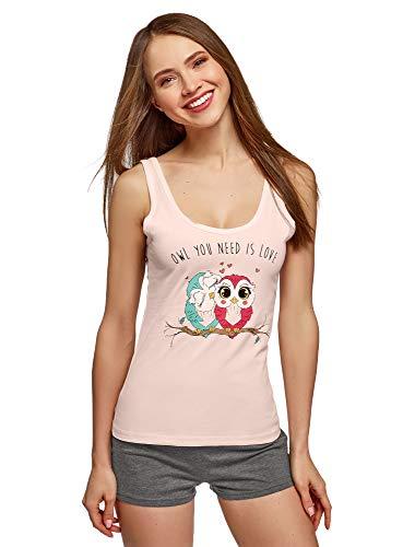 oodji Ultra Mujer Pijama de Algodón con Estampado, Rosa, ES 38 / S