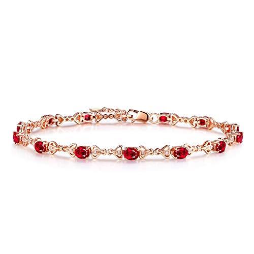 AmDxD Schmuck 18K Rose Gold Armband Damen Damenarmband Rot Oval Rubin Armband 0.2CT Rose Gold