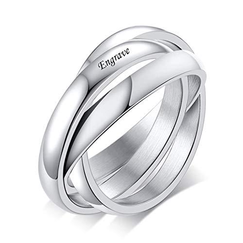Weixin Joyería personalizada 3 conjuntos de anillo de acero inoxidable de las mujeres anillo de compromiso anillo casado personalizado al por mayor