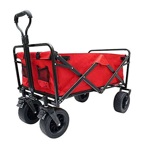 FEAHRZEUG Folding Camping Wagon Collapsible Beach Garden Trolley with...