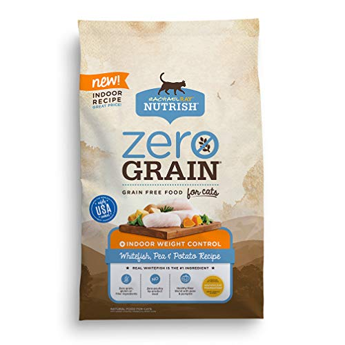 Rachael Ray Nutrish Zero Grain Natural Indoor Dry Cat Food, Whitefish, Pea & Potato Recipe, 3 Pounds, Grain Free