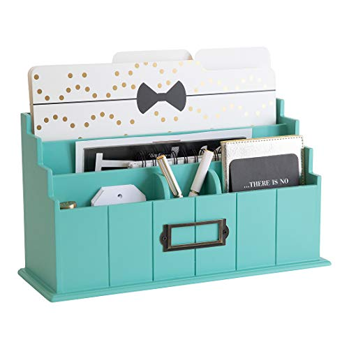 Blu Monaco Teal Wooden Mail Organizer - 3 Tier Teal Desk Organizer - Rustic Country Mail Sorter - Kitchen Countertop Organizer Mail Basket…