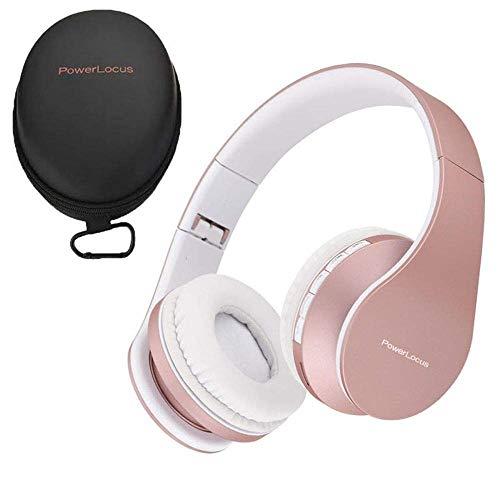 PowerLocusワイヤレスBluetooth ヘッドホンオーバーイヤーステレオ折り畳み式ヘッドフォン、対応 iPhone、Samsung、LG、iPad 用の内蔵マイクを備えた有線ヘッドセット (ローズゴールド)