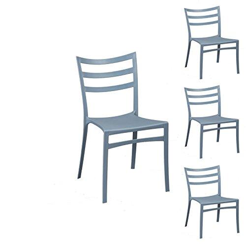 Tousmesmeubles Quatuor de chaises Gris/Bleu - MYA - L 51 x l 47 x H 86 - Neuf