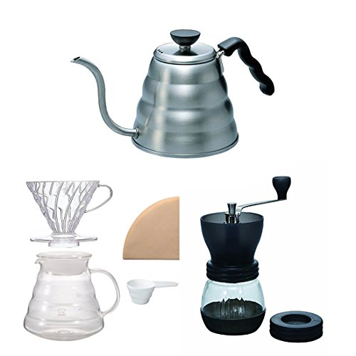Hario V60 Kettle, Brewer Set & Coffee Mill - Three Products All Sold Together (Japan Import)