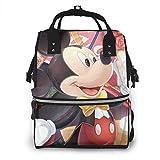 Bolsa de pañales con diseño de Mickey Mouse para mamá, multifunción, de gran capacidad, mochila de viaje