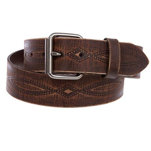 1 3/4' snap on Embossed Vintage Cowhide Thick Leather Casual Jean Belt, Brown | 34'