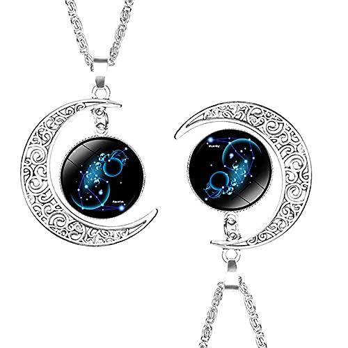 2021 - Collar de constelación de moda con colgante de luna creciente y media media 12 constelación signo del zodiaco colgante cadena colgante collar joyería presente (Acuario)