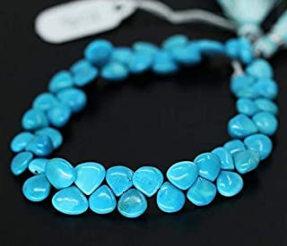 Natural Blue Sleeping Beauty Turquoise Smooth Heart Drop Briolette Gemstone Craft Loose Beads 8