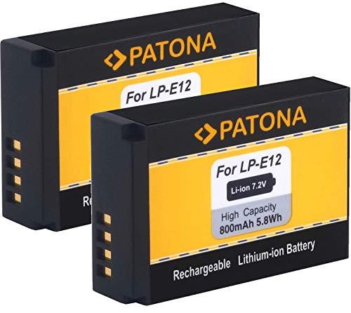 PATONA (2X) Ersatz für Akku Canon LP-E12 zu EOS M M10 M50 M100 M200 100D PowerShot SX70 HS