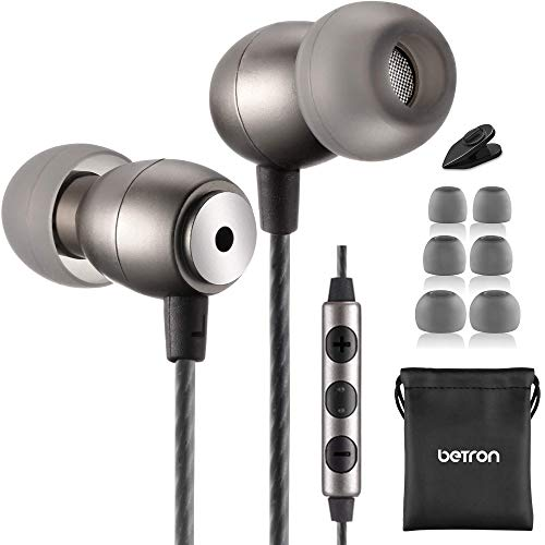 Betron GLD100 Earphone with Mic and Volume Control, Noise Isolating Headphone with 3 Different Sized Earbuds,Includes Carry Bag, Compatible with iPhone, iPad, iPod and Samsung Devices, Black