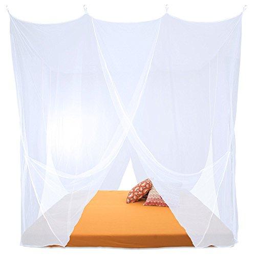 Sumkito Moskitonetz XXL Doppelbett weiß Mückennetz eckig Bettvorhang 4 Eingänge Insektenschutz