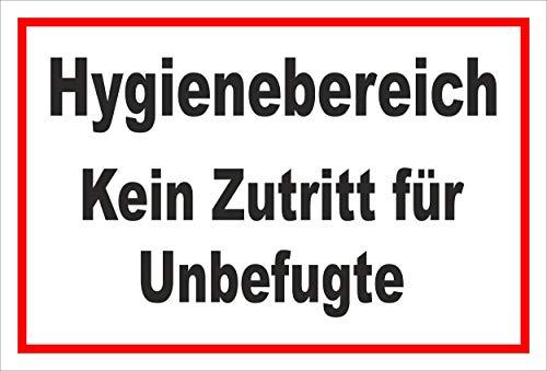 Melis Folienwerkstatt Schild Hygienebereich - 15x10cm - 3mm Hartschaum – 20 VAR S00225-005-B
