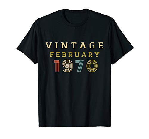 50 Year Old Birthday Gift Vintage 1970 February T-Shirt