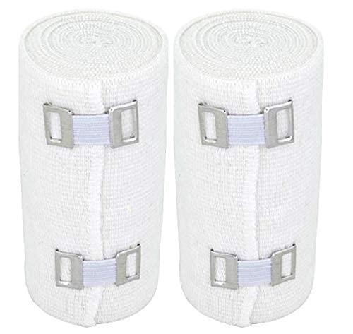 "Nexskin 3"" Organic Latex Free American Cotton - Comfort Elastic Bandage with Clip Fasteners - White, 2 Pack"
