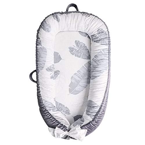 TCBunny Baby Lounger, Baby Nest Portable Infant Bassinet, Gray Leaves