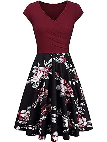 Vestido de mujer con cuello en V y línea A, estampado floral hasta la rodilla, vestido de cóctel para mujer, vestido de fiesta retro, vestido de noche de manga corta, Vino Rojo Floral, S